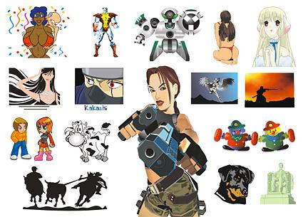 アニメのキャラクター、動物ベクトル材料