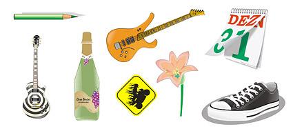 鉛筆、ギター、花、カレンダー、靴のベクター素材