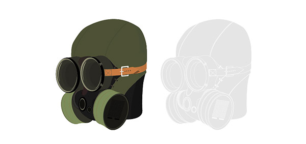Vector materiales militares máscaras de gas