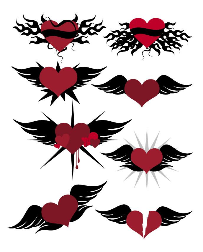 Avec les ailes en forme de cœur