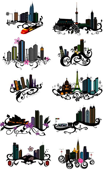 La tendencia de la construcción urbana y flores