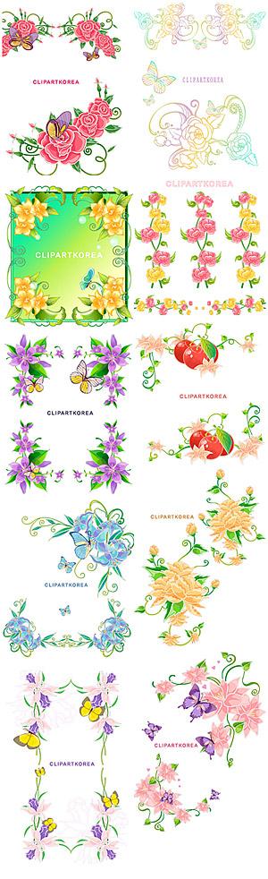 Spitze, Blumen und Schmetterlinge-Vektor-material