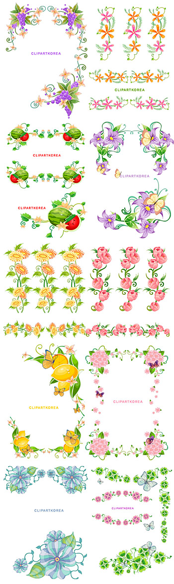 Flores, frutas y mariposa encaje