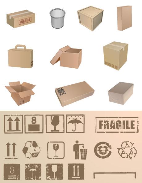 Envasado y embalaje comúnmente usan símbolo