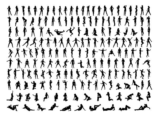 様々 な文字の姿勢で写真の数