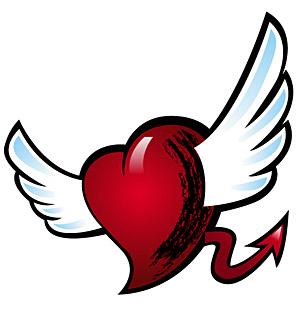 มีปีกและหางของวัสดุรูปหัวใจเวกเตอร์