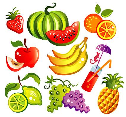 ベクターの漫画のスタイルの果物