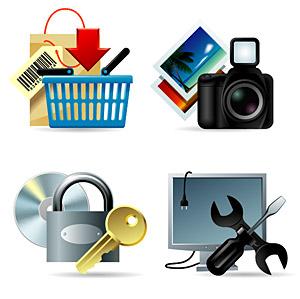 ショッピング、写真、ログ、メンテナンス、その他のベクトルのアイコン素材