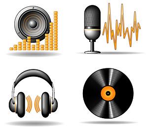 Icono material de vectores tema musical