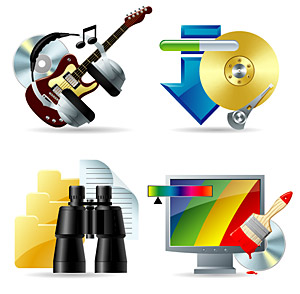Música, download, para encontrar, como material de ícone cor vector