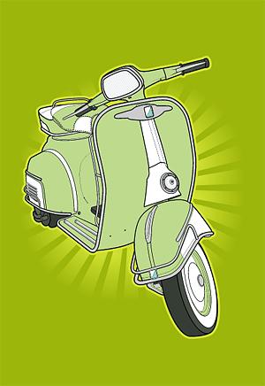 Material de vector de moto pequeña retro