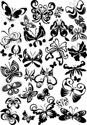 Черно-белая бабочка элемента вектора