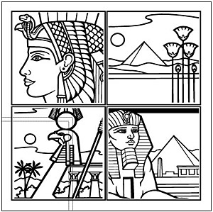 エジプト 4 グリッド線の描画ベクトル地図