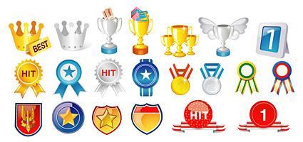 Material de vetor de medalhas e troféus