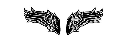 ขาวดำและปีกของเวกเตอร์