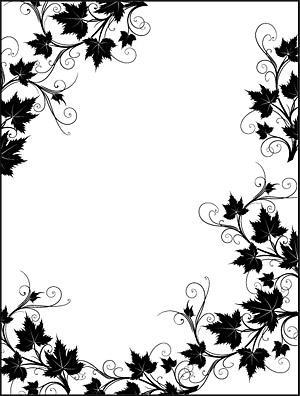 Borda de laço preto e branco rattan planta Vector