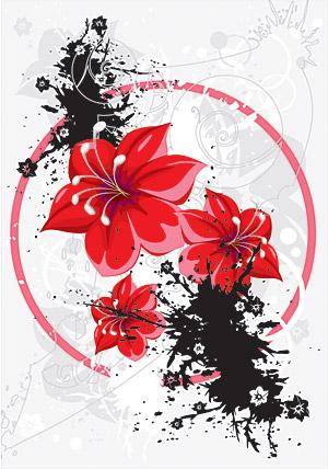 tinta bunga vektor