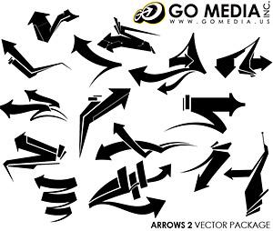 メディア制作ベクトル材料 (set8) に行く-矢印