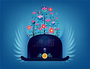 Material de vector de sombrero mágico