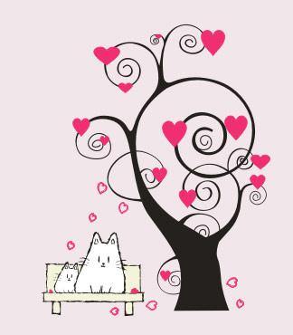 Elementos de vectores de árboles de dibujos animados con forma de corazón