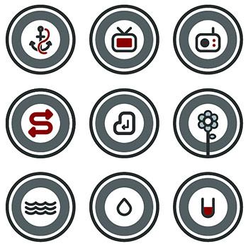Vector rodada ícone de desenho animado