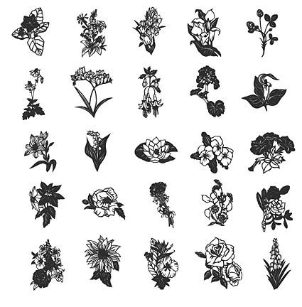 รูปวาดเส้นวัสดุเวกเตอร์ดอกไม้