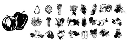 ขาวดำและเวกเตอร์ภัณฑ์ผลไม้และผัก