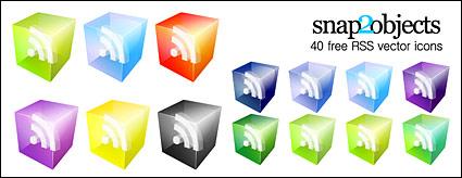 Material de ícone RSS assinar 3D vector