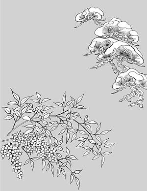 รูปวาดเส้นเวกเตอร์ของดอกไม้-46(Pine trees, snow)