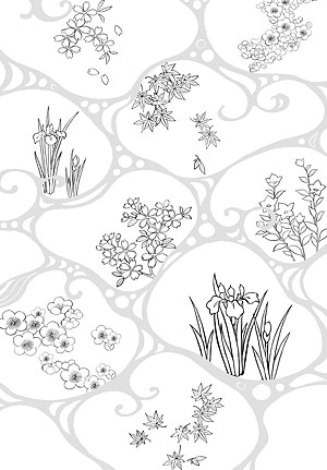 Dibujo de líneas de vector de flores-47(Flowing water, flowers, leaves)