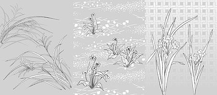 Dibujo de líneas de vector de flores-48(Flowers and grass)