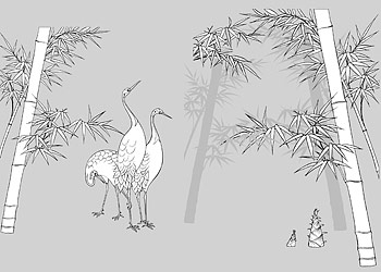 Dibujo de líneas de vector de flores-49(Bamboo, bamboo shoots, Hok)
