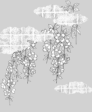 Dessin vectoriel de fleurs-38(Cherry blossoms, clouds, gilded lattice)