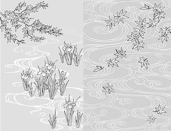 รูปวาดเส้นเวกเตอร์ของดอกไม้-40 (น้ำ iris ยัง)