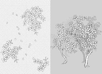 ベクトル線の描画の花 - 41Cherry、古典の背景)