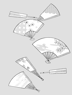 花 42(Fan, cherry, plum blossom, classical background patterns) のベクトル線の描画