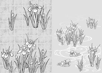 花 44(Rattan, gilded lattice) のベクトル線の描画
