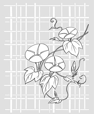花 26(Morning glory, lattice background) のベクトル線の描画