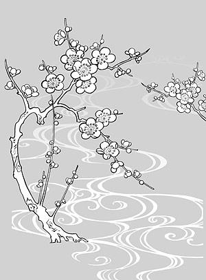 รูปวาดเส้นเวกเตอร์ของดอกไม้-30(Plum blossom, flowing water)