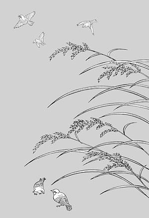 花 33(Rice, birds) のベクトル線の描画