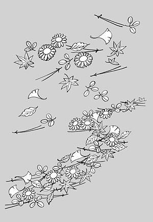 Dibujo de líneas de flores -14