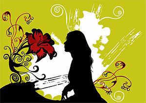 Blumen- und Frauen-Vektor-material