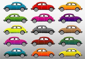 รถยนต์คลาสสิกที่มีสีสัน vector วัสดุ