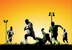 Jugando a atletas de fútbol material de vectores