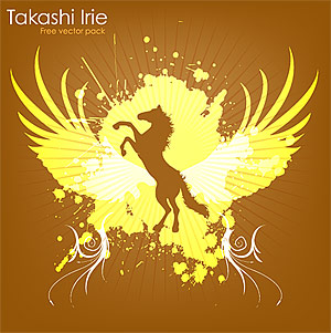 แนวโน้มของปีกและม้าองค์ประกอบเวกเตอร์วัสดุ