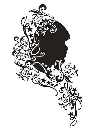 Vector con el retrato del patrón de la mujer