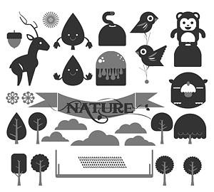 Arbres et animaux mignons cartoon vecteur matériel