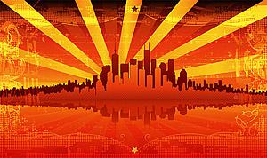 Rojo ardiente del material de vector de verano ciudad