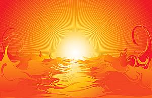 Matériau de vecteur du coucher du soleil de mer cool