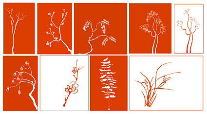 古典的な植物素材、ベクター